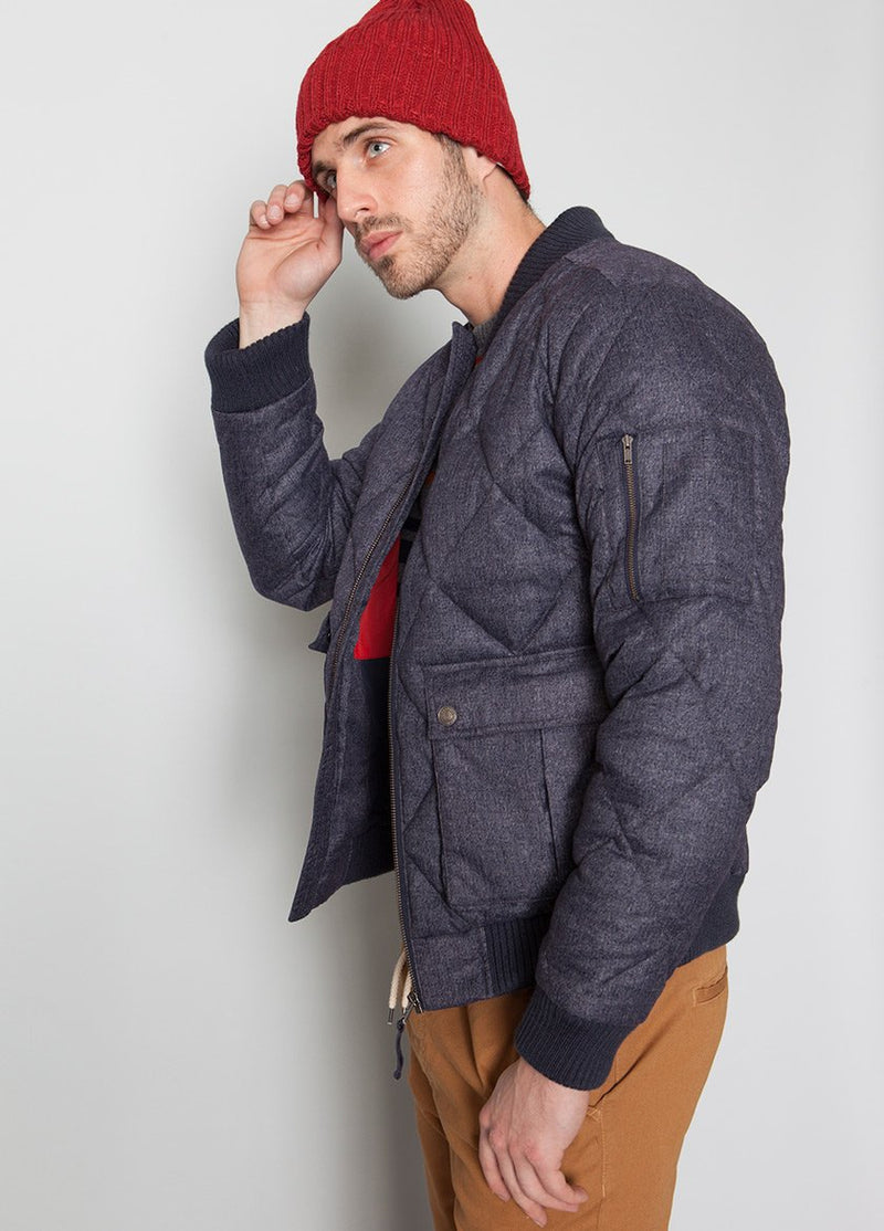 BLUE BOMBER JACKET WITH QUILTED DETAIL ON MALE MODEL SIDE VIEW
