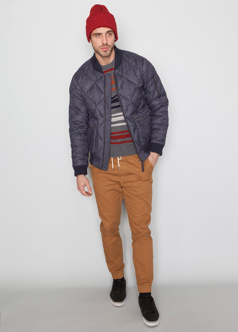 FULL BODY SHOT OF BLUE BOMBER JACKET WITH QUILTED DETAIL ON MALE MODEL