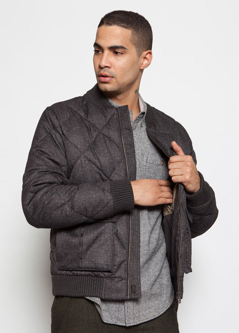 CHARCOAL QUILTED BOMBER COAT ON MALE MODEL, OPENING LAPEL
