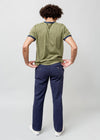 BACK VIEW OF STRAIGHT LEG MENS PANT IN ECLIPSE BLUE COLOR