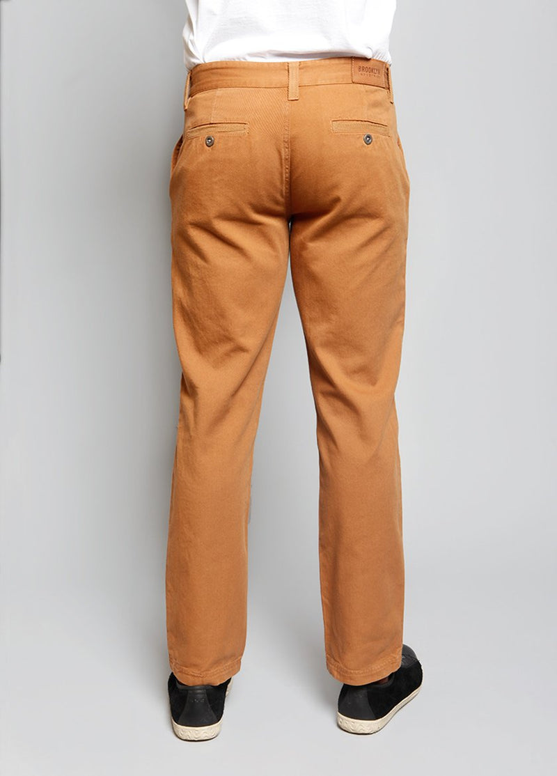 BACK VIEW OF STRAIGHT LEG MENS PANT IN TOAST COLOR