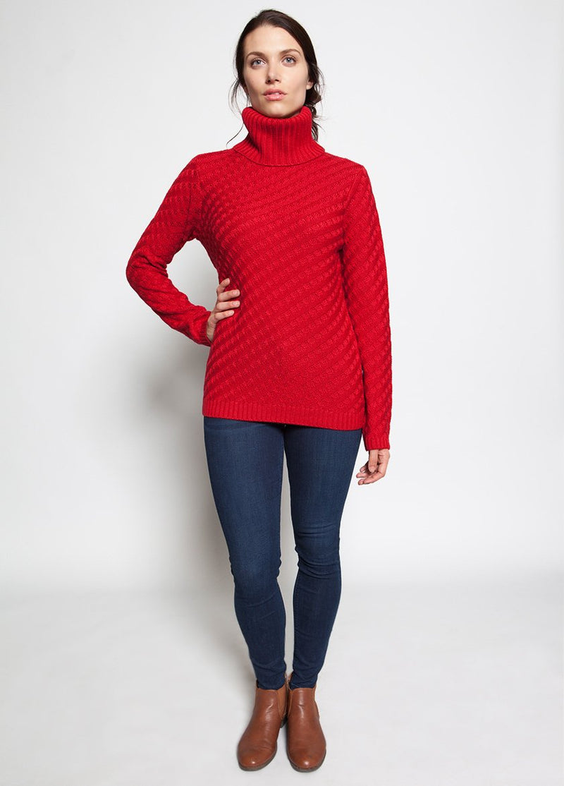 HAUTE RED WOMENS FUNNEL NECK SWEATER
