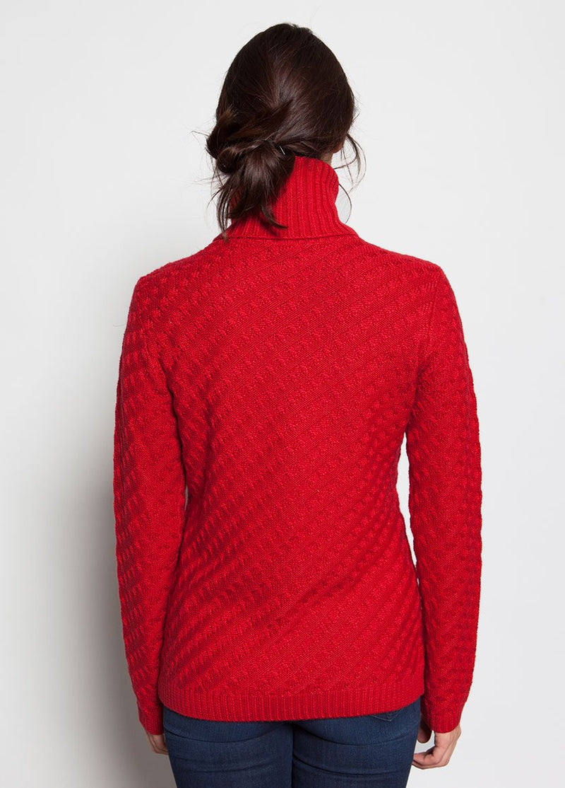 BACK VIEW OF  HAUTE RED WOMENS FUNNEL NECK SWEATER