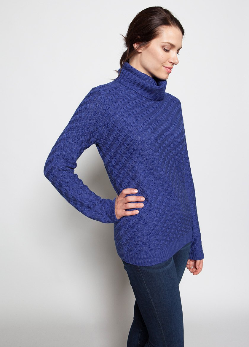 SIDE VIEW OF WOMEN IN BLUE FUNNEL NECK SWEATER