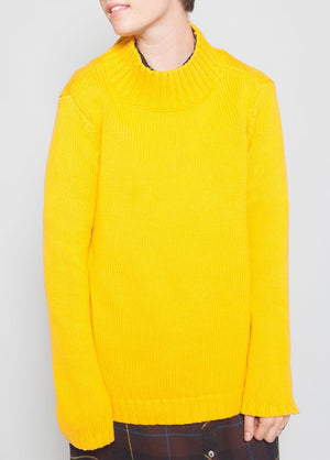 Ashbury Mock Neck Golden Yellow Female Model Front Image