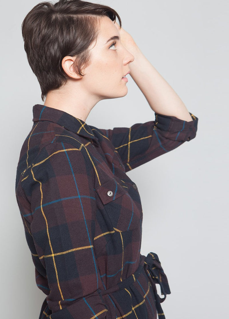 PLAID CEDAR SHIRTDRESS W