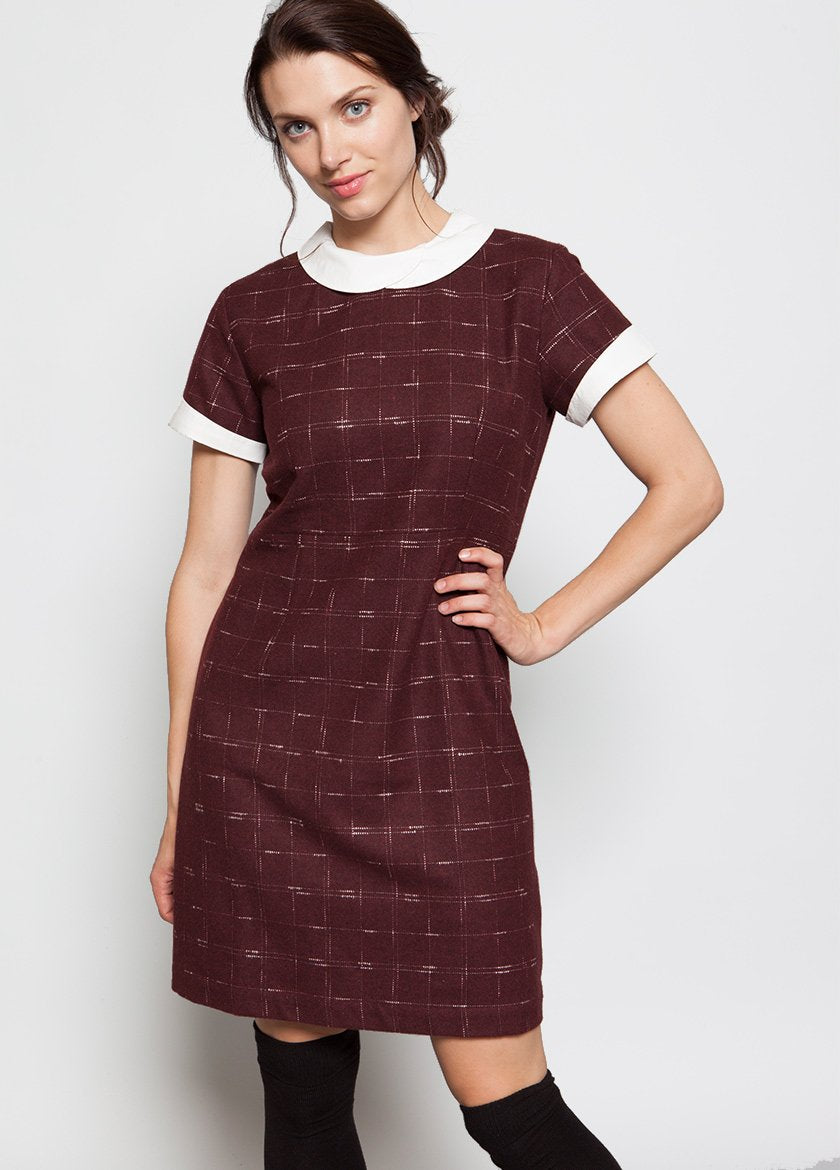 RHODA PETAL DRESS MAROON - BROOKLYN INDUSTRIES