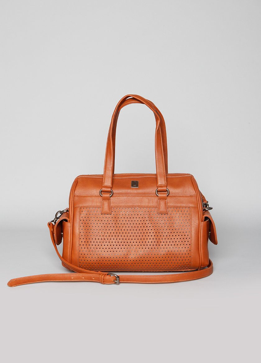 CAMEL COLORED HANDBAG WITH TEXTURED DETAIL AND SIDE POCKETS  LONG STRAP, AND SHORTER HANDLES THAT ARE STANDING UP
