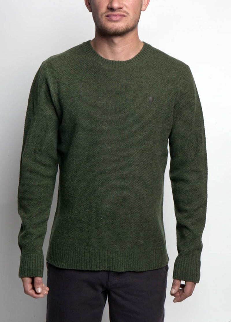 MAN IN GREEN KNIT SWEATER FRONT VIEW
