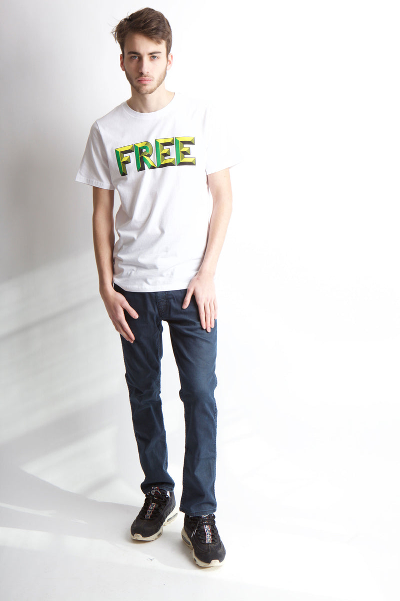 Full body image of man wearing jeans and Free t-shirt