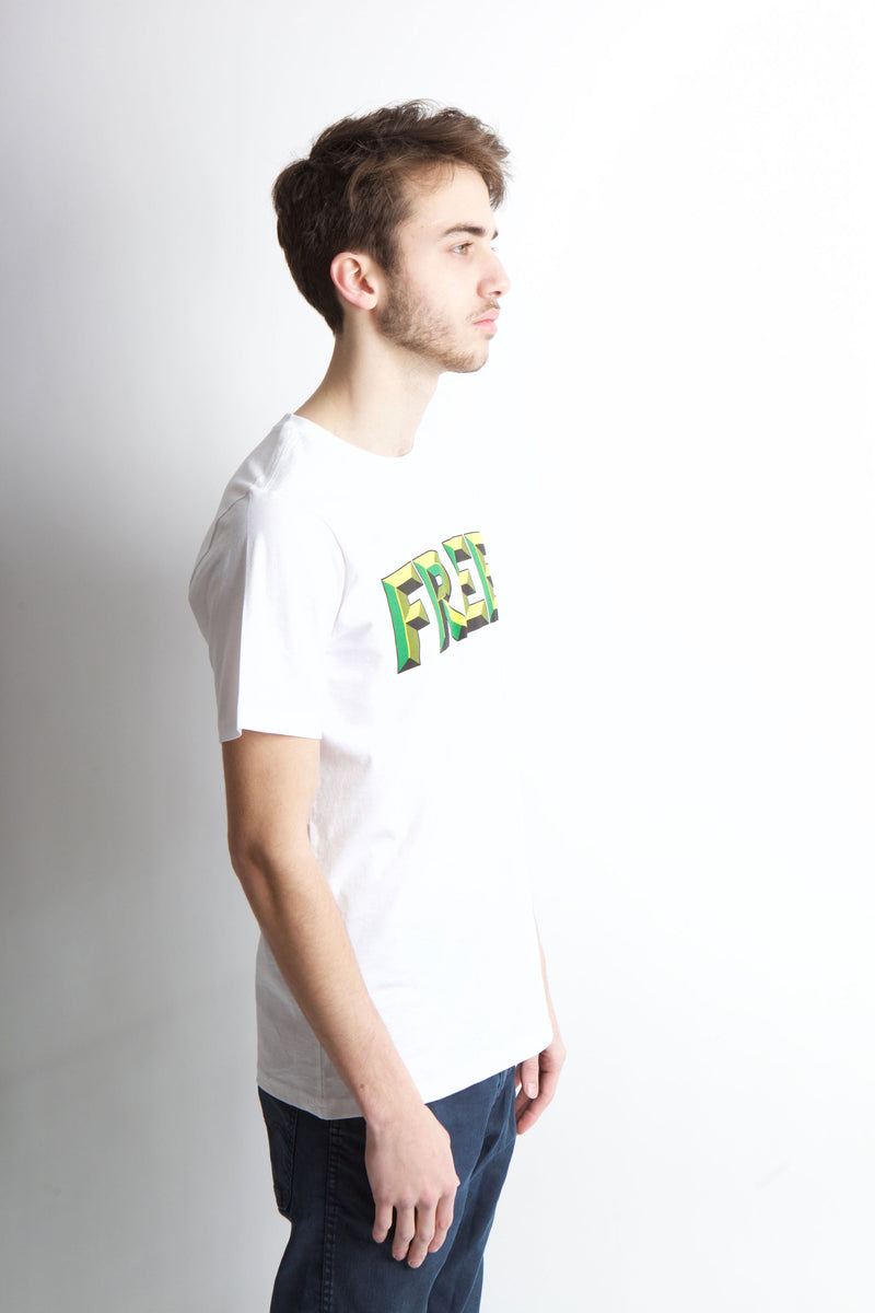 Side view of white free t-shirt