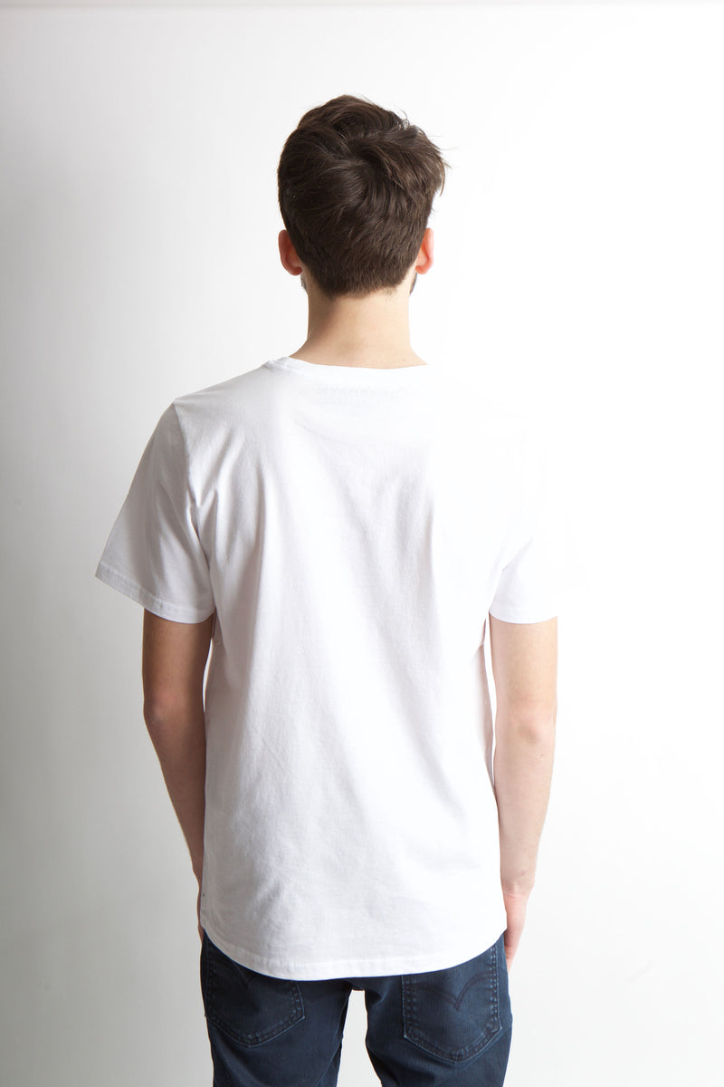 Back image of white t-shirt showing no graphic.