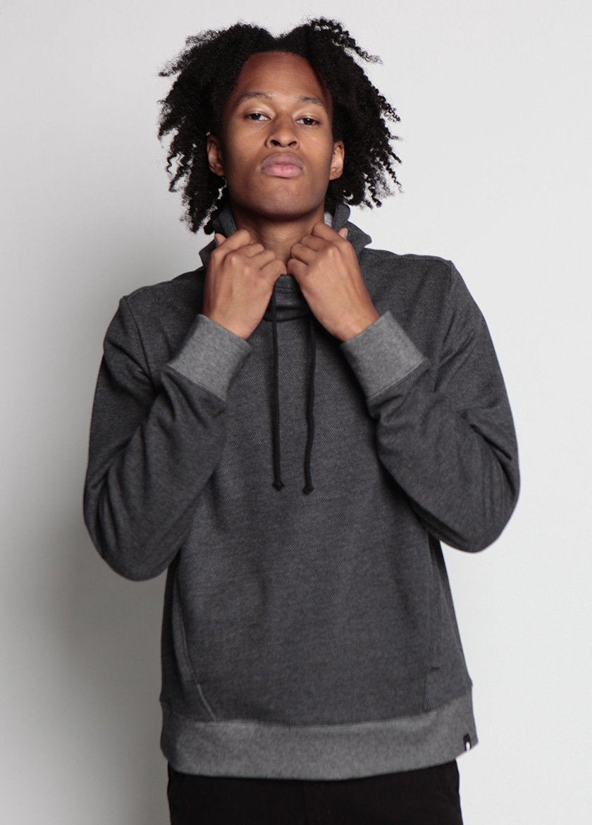 Arlo Knit Hoodie Charcoal Frontal Image on Male Model