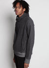 Arlo Knit Hoodie Charcoal Side Image on Male Model