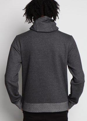 Arlo Knit Hoodie Charcoal Back Image on Male Model