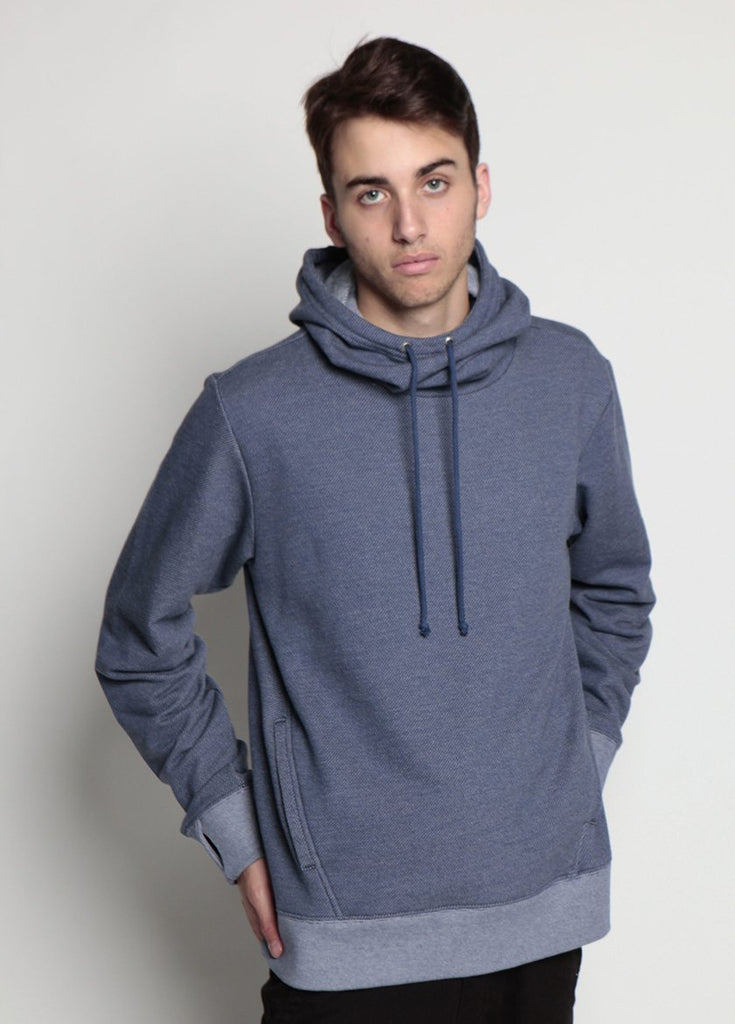 Arlo Knit Hoodie Denim Blue Frontal Image on Male Model