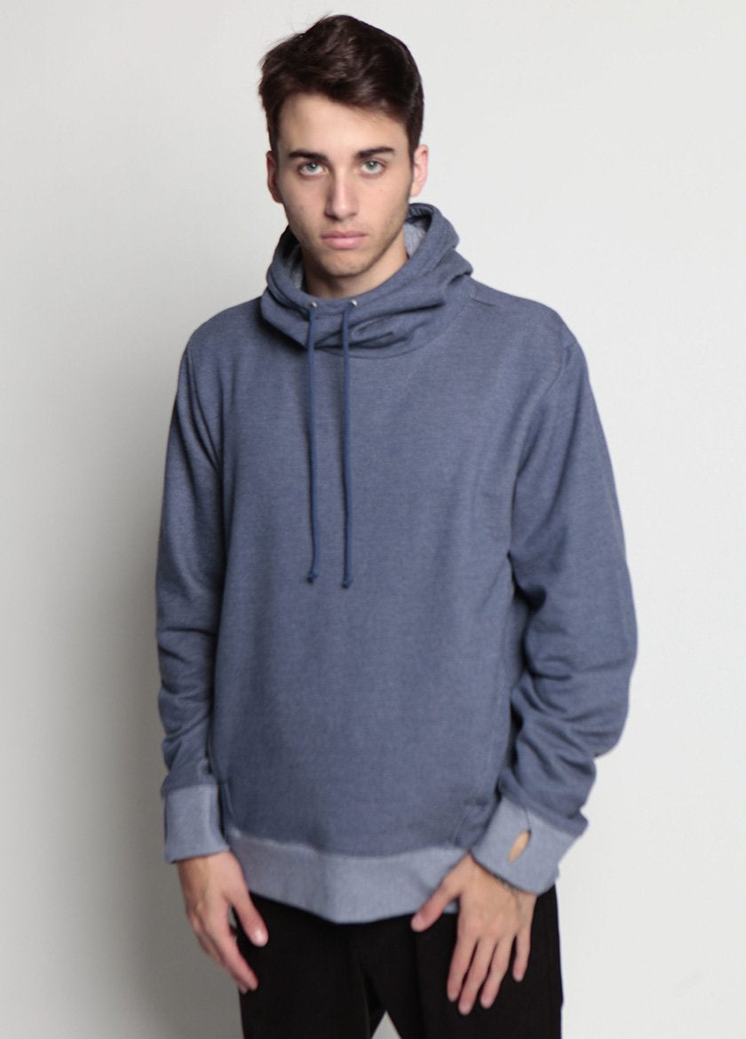 Arlo Knit Hoodie Denim Blue Frontal Image to right on Male Model