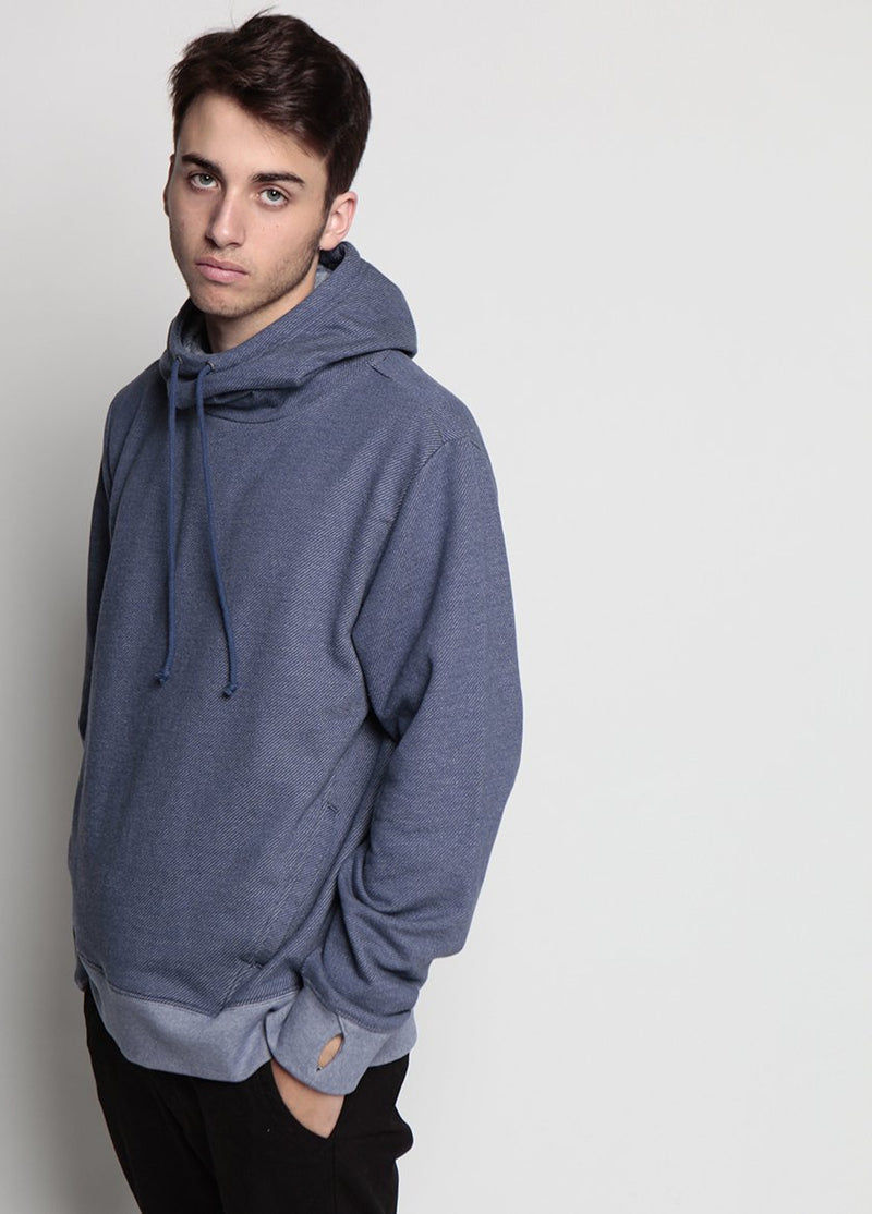 Arlo Knit Hoodie Denim Blue Side View on Male Model