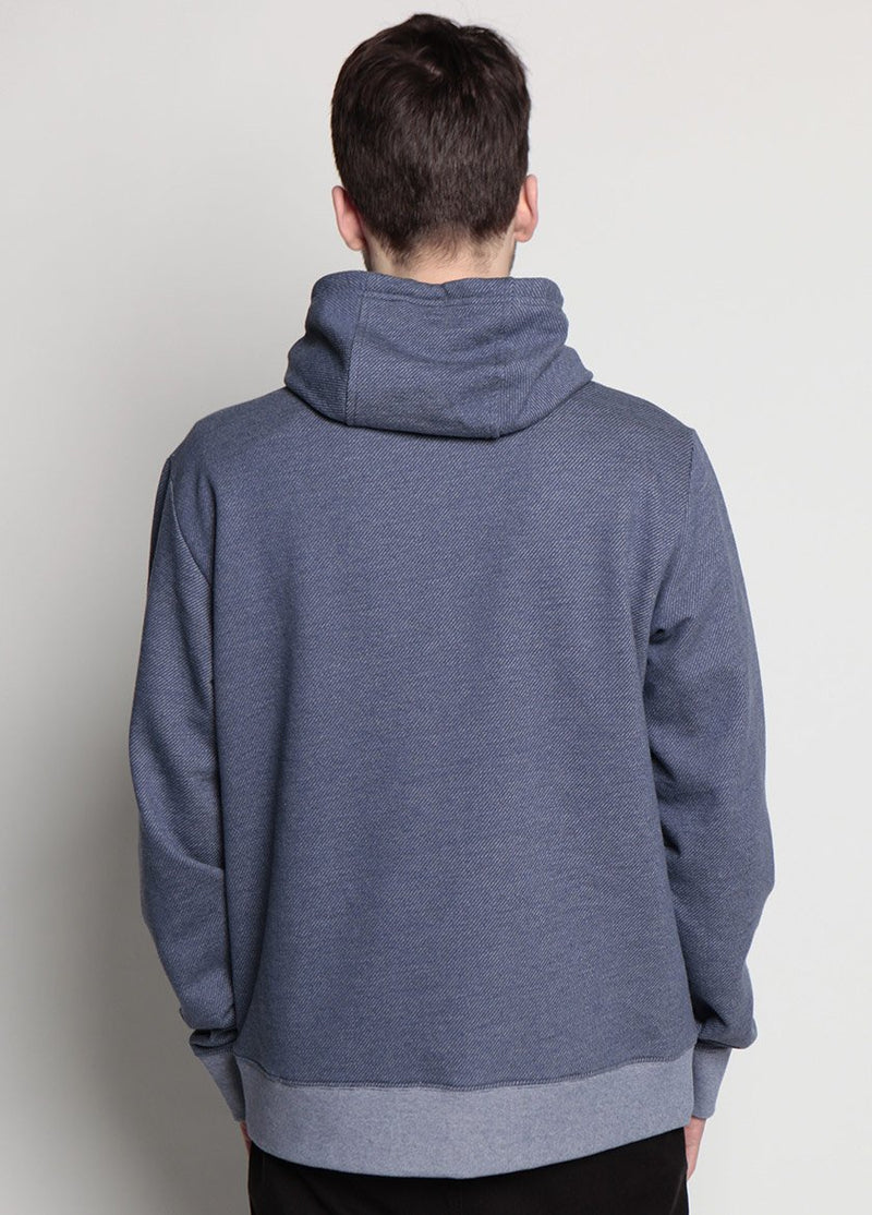 Arlo Knit Hoodie Denim Blue Back View on Male Model