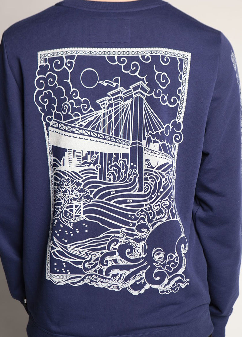 BRIDGE MONSTER FLEECE MEDIEVAL BLUE