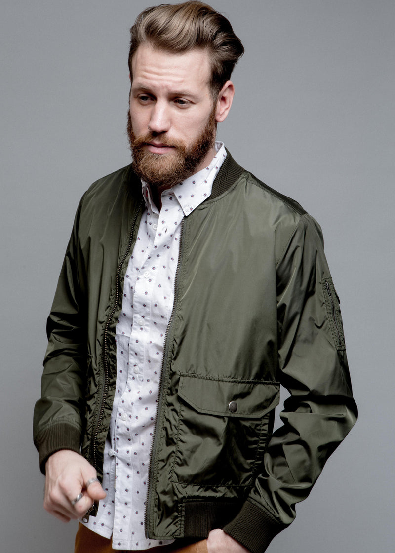 NYLON BOMBER JACKET IN GREEN ON MALE MODEL