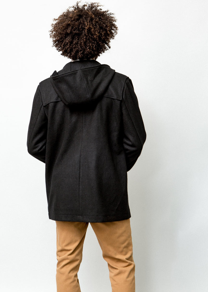BACK VIEW OF BLACK HOODED MANCHESTER DUFFLE COAT