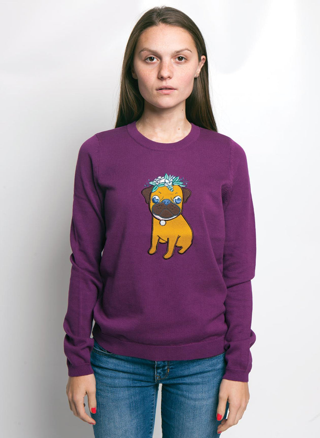 PURPLE SWEATER WITH A COLORFUL PUG DOG, ON WOMEN MODEL ARMS TO SIDES