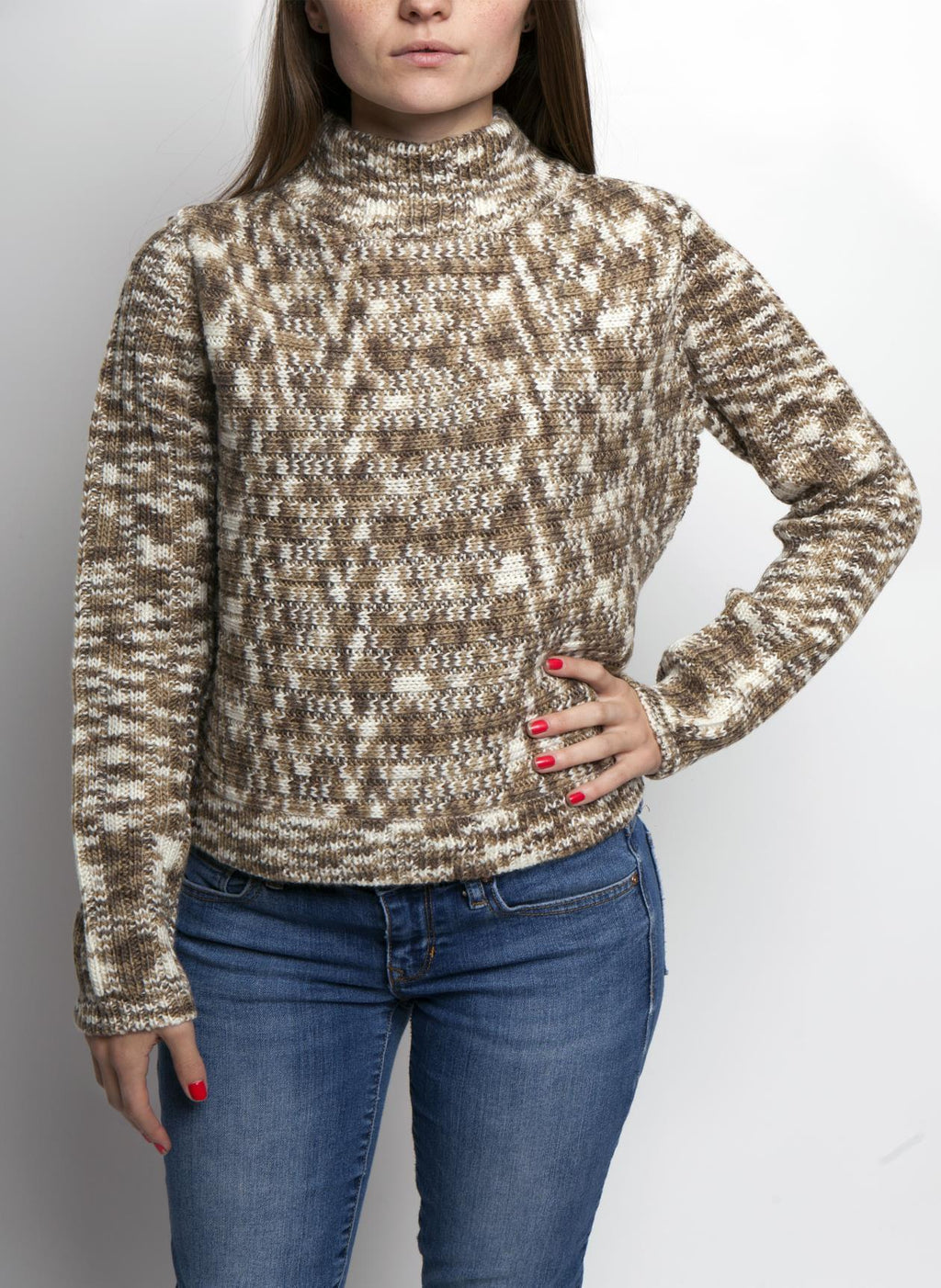 ELLA MOCK SWEATER IN MUSHROOM COLOR ON FEMALE MODEL