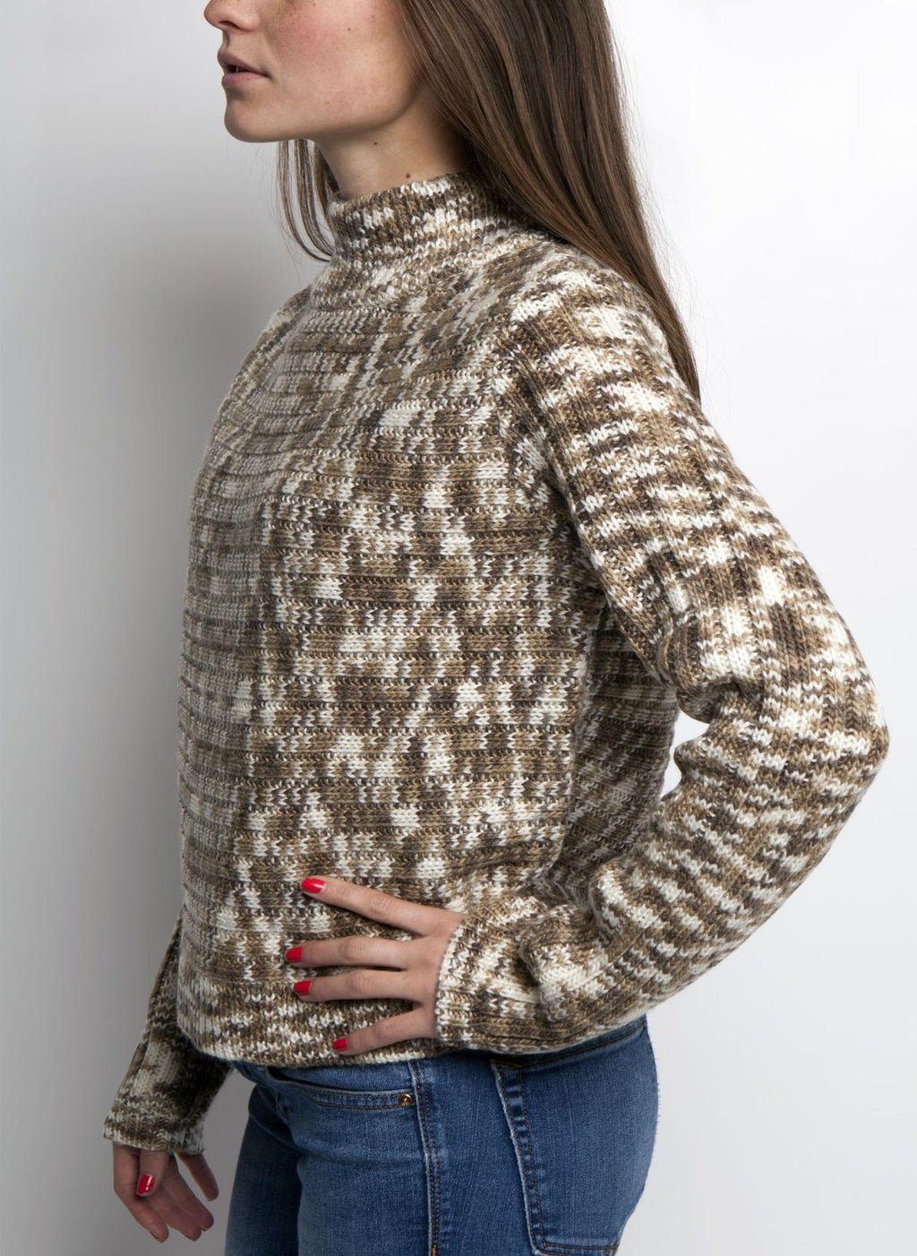 SIDE VIEW ELLA MOCK SWEATER IN MUSHROOM COLOR ON FEMALE MODEL