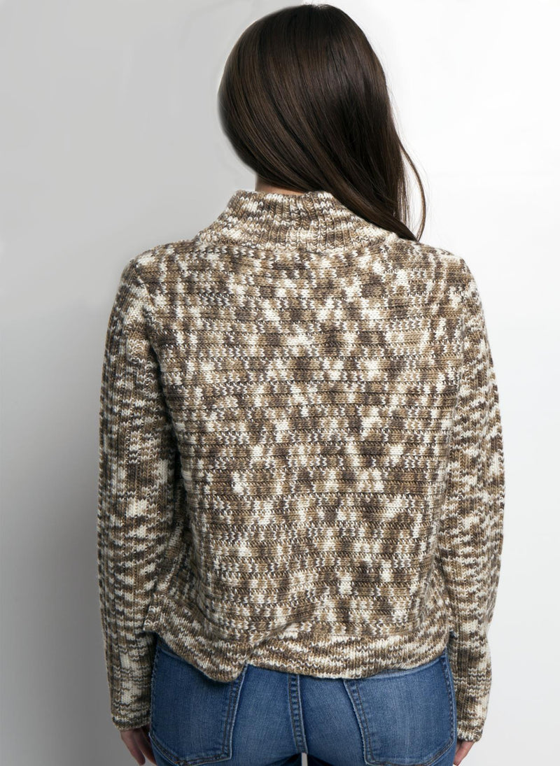 ELLA MOCK SWEATER IN MUSHROOM COLOR ON FEMALE MODEL BACK VIEW