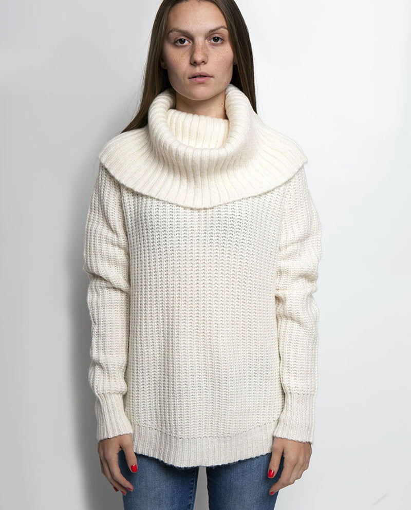 AVERY COWL NECK SWEATER BIRCH - BROOKLYN INDUSTRIES