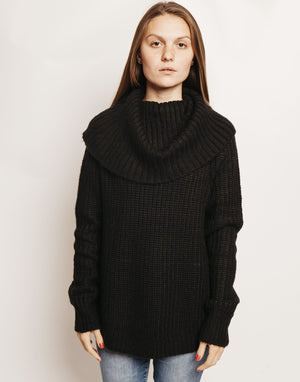 AVERY COWL NECK SWEATER BLACK Front View