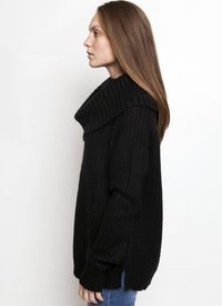 AVERY COWL NECK SWEATER BLACK Side View
