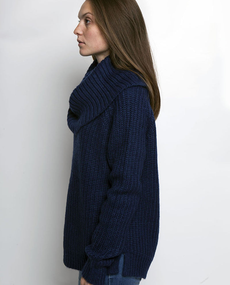 AVERY COWL NECK SWEATER MEDIEVAL BLUE - BROOKLYN INDUSTRIES
