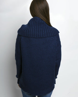 AVERY COWL NECK SWEATER MEDIEVAL BLUE Back View