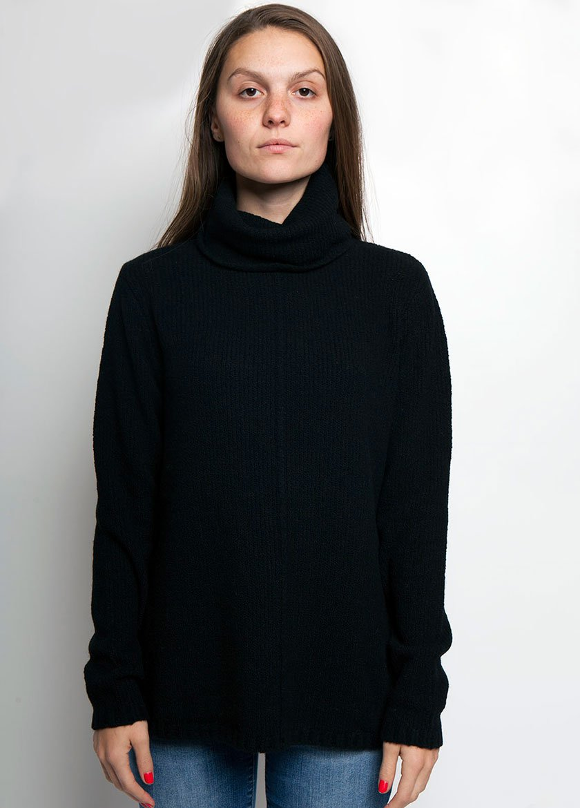 BLACK TUNIC SWEATER FOR WOMEN