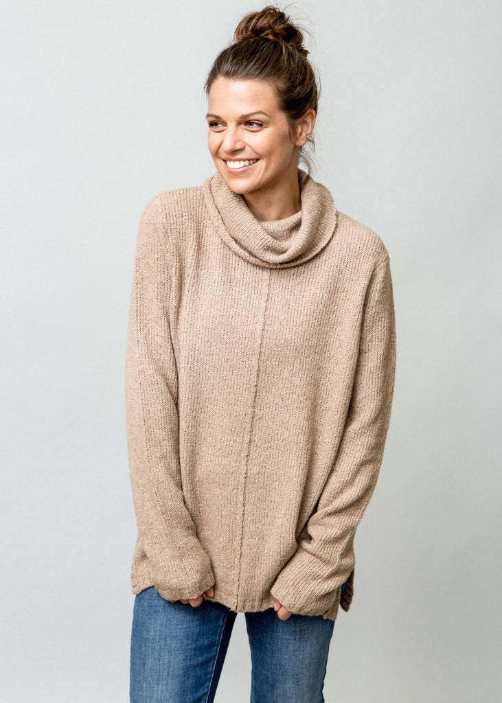 CAPPUCCINO COLORED TUNIC SWEATER ON FEMALE MODEL