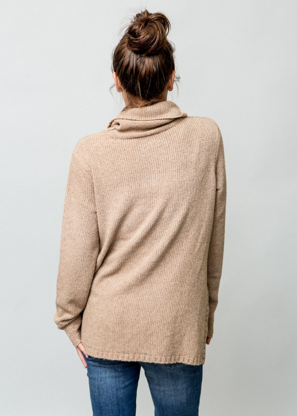 CRESSIDA CAPPUCCINO COLORED TUNIC SWEATER ON FEMALE MODEL BACK VIEW