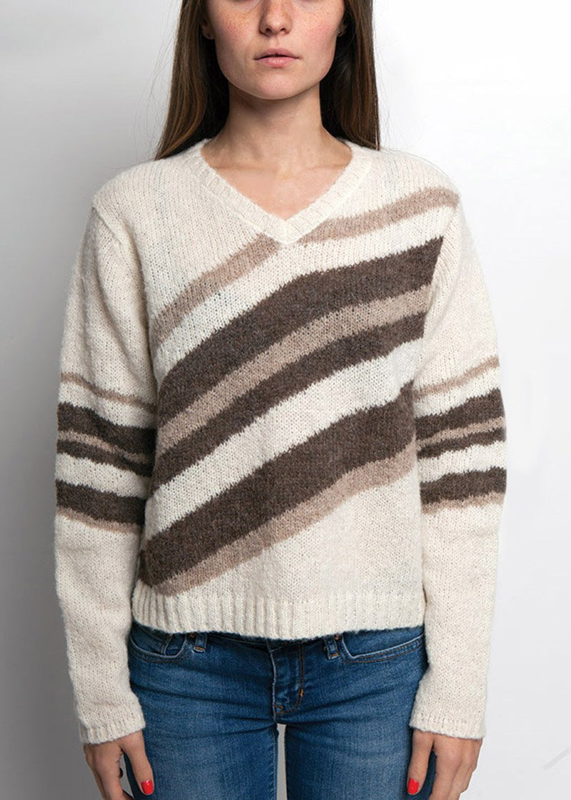 IVORY TONED ALPACA SWEATER WITH VNECK AND DIAGNOL STRIPES IN BROWN TONES