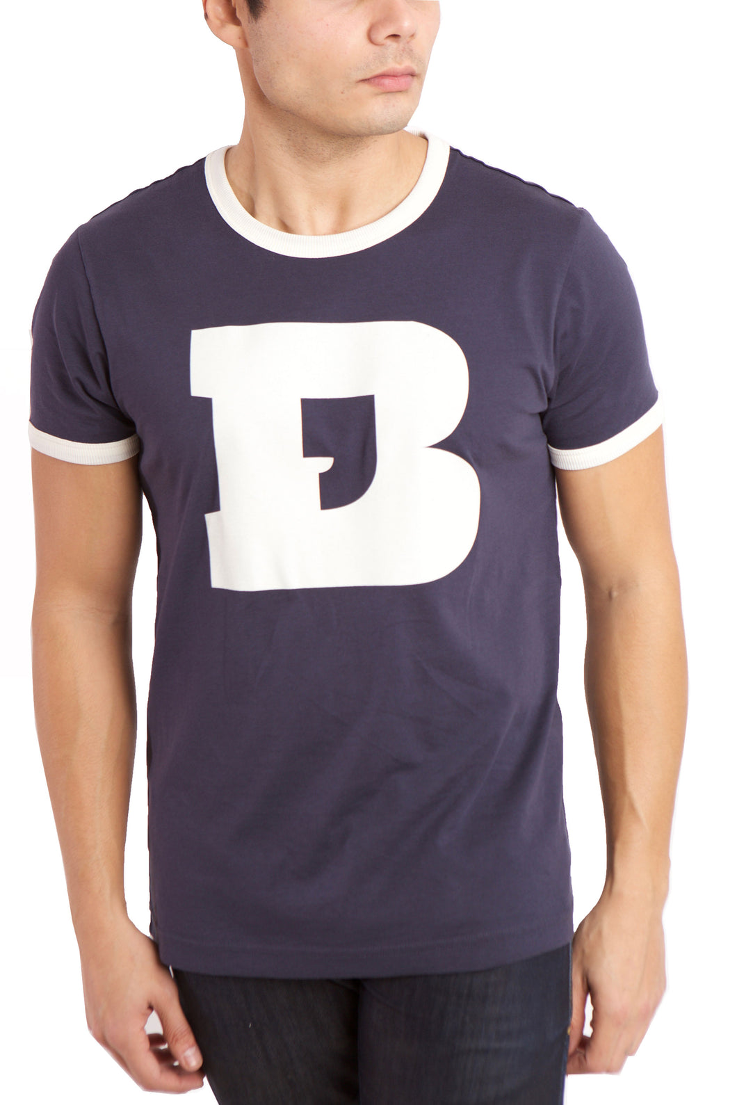 Men's ringer t-shirt in navy with white collar and arm ringer.  Large graphic on front of B with the hollow interior formed as a comma.