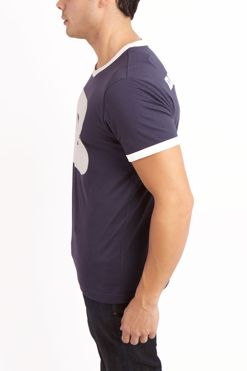 Left view of men's Comma ringer tee.