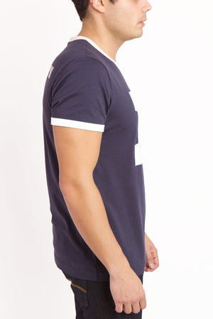 Right view of men's comma t-shirt.