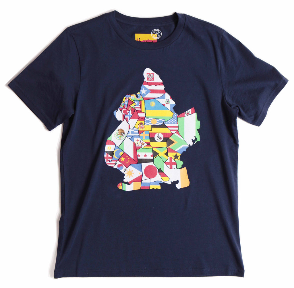 Flat lay tshirt , many nations flags make up the shape of the borough of brooklyn on the center of the front of the shirt.