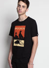 black tshirt with pigeon and rat on a red and yellow background