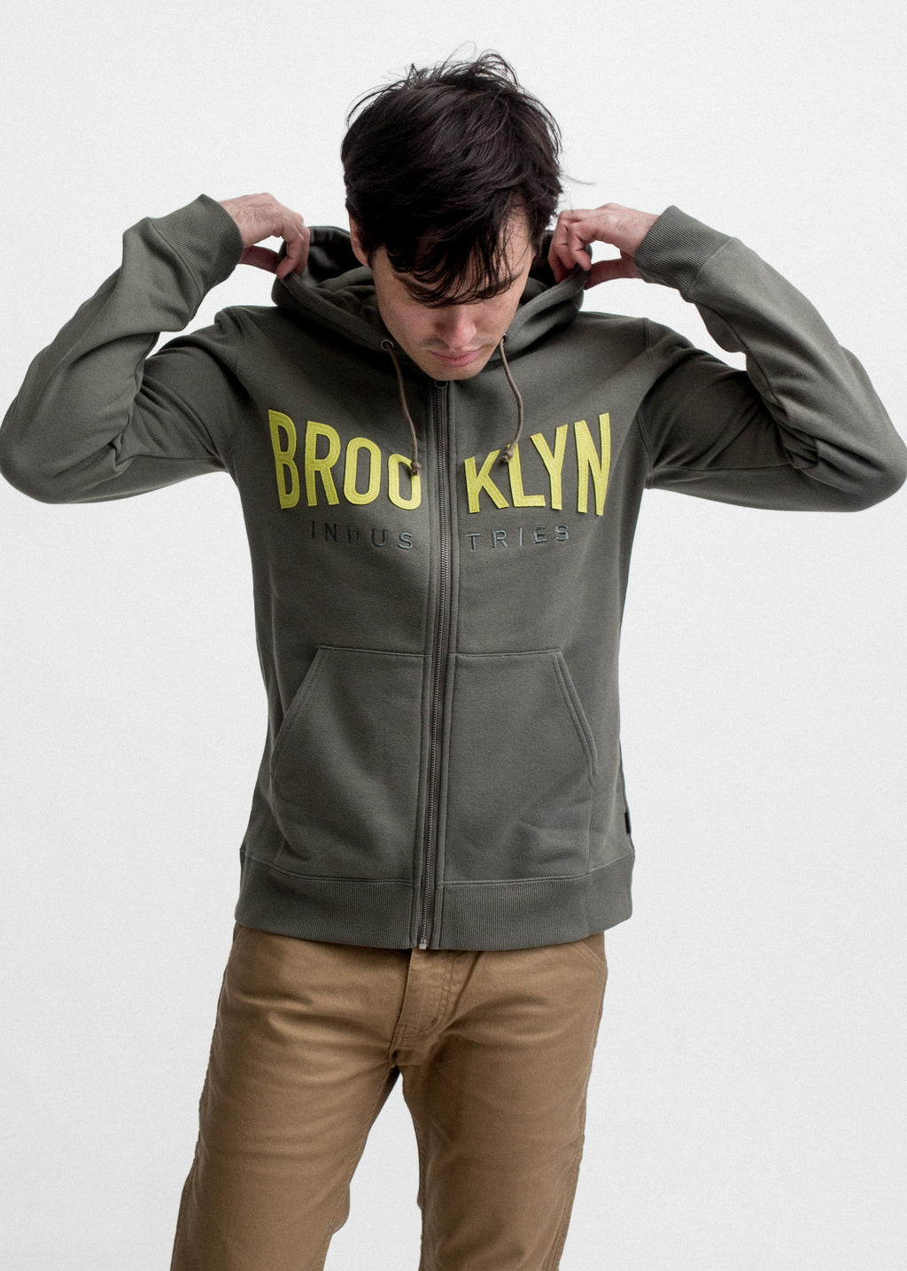 ZIP UP MEN'S APPLIQUE ARMY