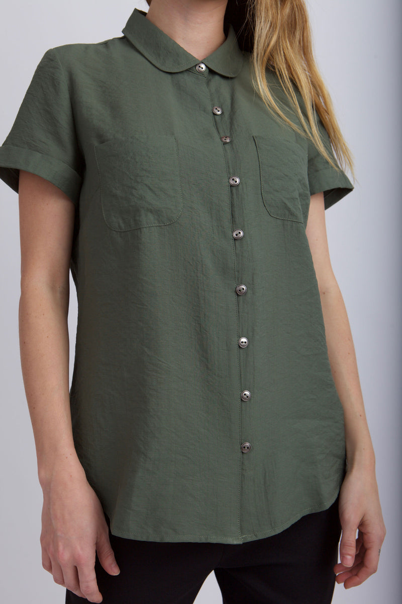 FRONT VIEW OF  MEAGAN PETER PAN TOP  IN GREENER