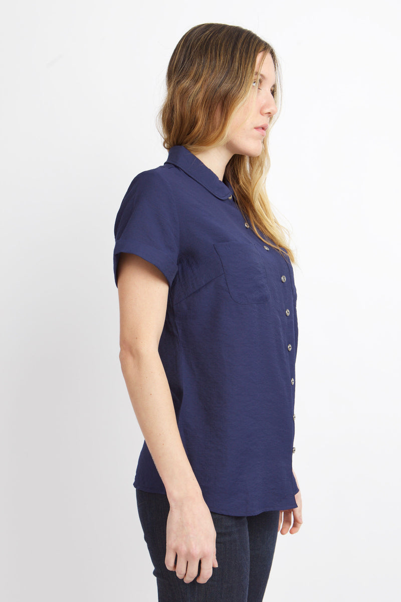 SIDE VIEW OF MEAGAN PETER PAN TOP IN MOOD INDIGO