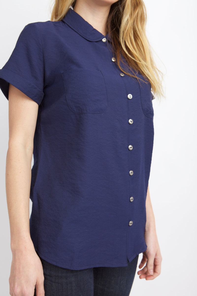 CLOSE UP BUTTONS ON PETER PAN TOP MOOD INDIGO