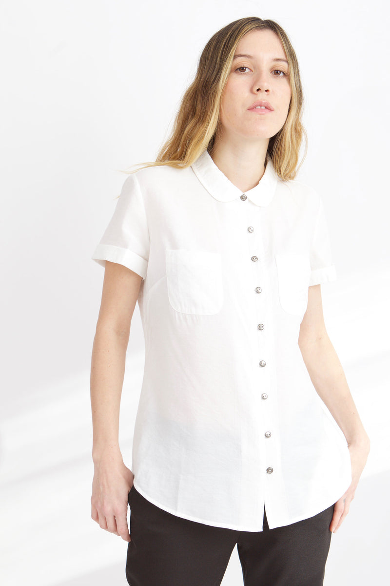 WOMEN IN WHITE MEAGAN PETER PAN TOP