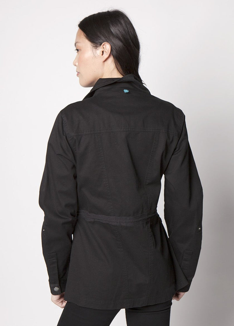 BACK VIEW OF THE MARCH COAT FOR WOMEN IN BLACK .